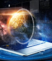 astronomy and future technology concept - laptop computer with virtual planet and space hologram