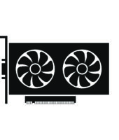 Simple illustration of graphics card GPU. Personal computer component icon. Flat style
