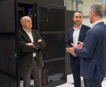 Mr Enrico Palermo, Head of the Australian Space Agency, touring the Pawsey Supercomputing Centre