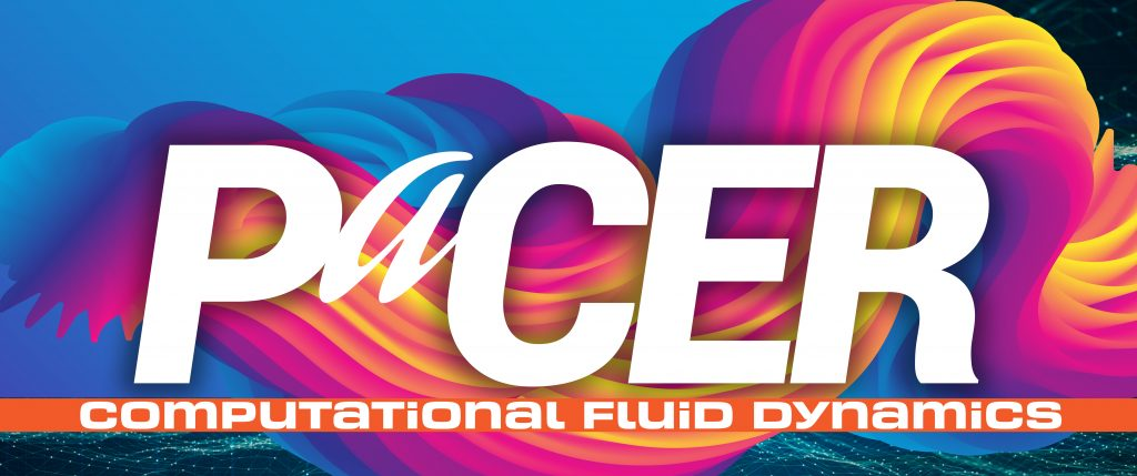 Fluid dynamics simulation with PaCER logo overlayed